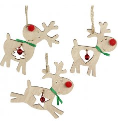 A festive assortment of posed reindeers each with a shape cut centre and red bell hanger