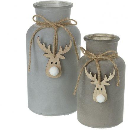 Grey Glass Reindeer Bottle Set, 16.5cm