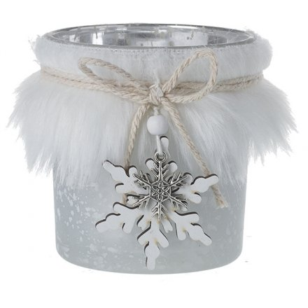 Silver Candle Pot With Faux Fur, 8cm