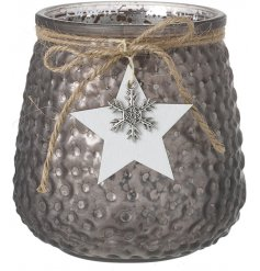 With an added mercury splash and ridged decal, a charming glass candle pot