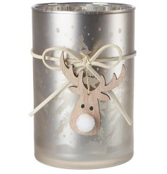 A champagne gold toned glass tlight holder with a faux suede ribbon and hanging wooden reindeer face