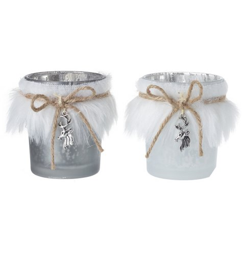 A mix of grey and white mottled glass candle holders with white faux fur trimmings and silver stag charms