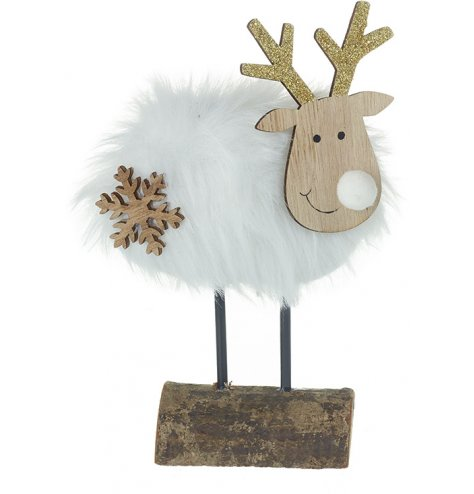 A cute little wooden reindeer with a white faux fur coat and glitter gold antlers