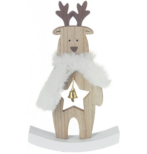A cute little wooden reindeer with a white faux fur coat and gold bell centre