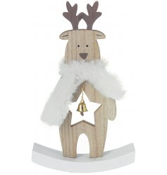 A cute standing wooden reindeer decorated with a star cut centre and faux fur scarf