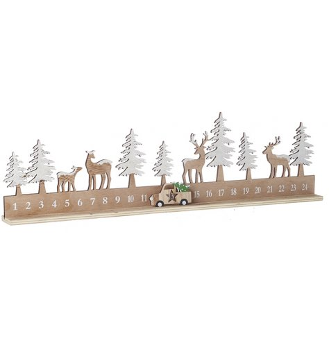 A natural wooden advent count down with added reindeer and trees on top , set with a moveable car counter