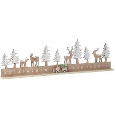 A natural wooden Christmas Countdown with a Woodland Scene and little car counter