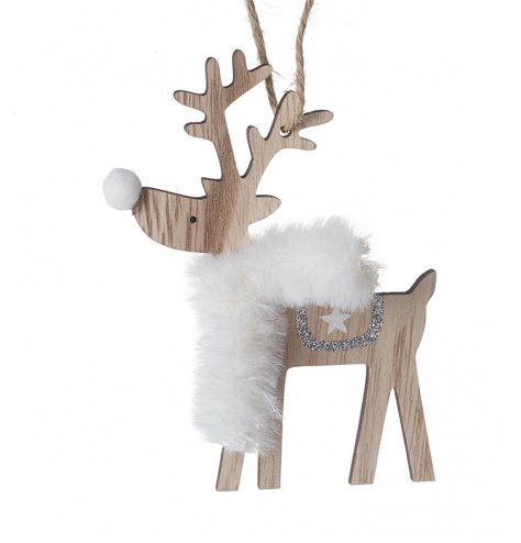 A natural wooden Reindeer decoration complete with a faux fur trimming and silver glitter accents