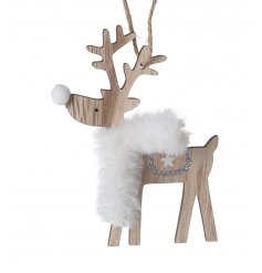 A small hanging wooden reindeer with a faux fur white scar and glittery accent