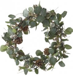 A round decorative wreath set with glitter frosted leaves, tarnished bells and added pinecones