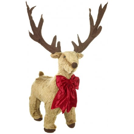 Decorative Fur Reindeer With Red Bow, 56cm