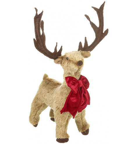 A charming plush reindeer decoration with a luxurious red bow.