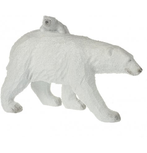 A winter wonderland polar bear and cub ornament with a sprinkling of Christmas glitter.