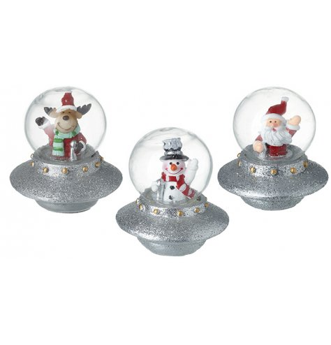 Traditional festive characters flying in silver glitter UFO spaceships.
