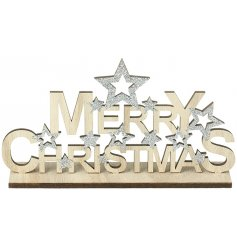 A natural wooden plaque with a bold Merry Christmas Text and silver glitter trimmings