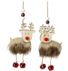 An assortment of hanging wooden reindeer decorations with jingly bell feet and faux fur trimmings