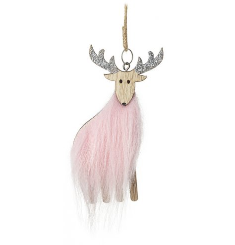 Elegant hanging wooden reindeer with pale pink faux fur body and silver glitter antlers.