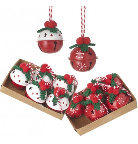 Adorable red and white bells resembling that of a Christmas pudding with holly leaves and pom pom berries.