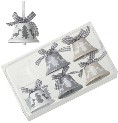 In neutral tones of grey and white, a set of 6 hanging bells with reindeer and tree patterns.