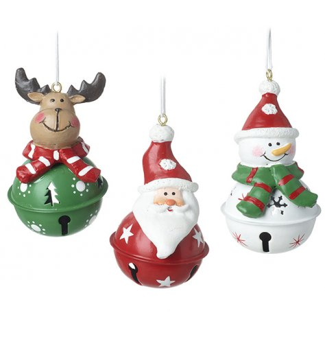 Three festive characters topping traditional bells in red, white and green.