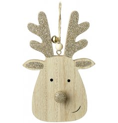 A small hanging wooden reindeer decorated with golden glittery extras