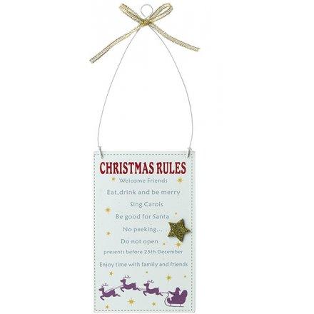 Metal Christmas Rules Sign, 13cm