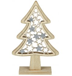 A simple standing wooden tree decoration with added stars and glittery finishes
