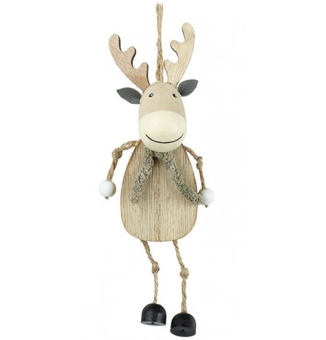 An adorable wooden reindeer with a glittery scarf and dangly jute arms and legs.