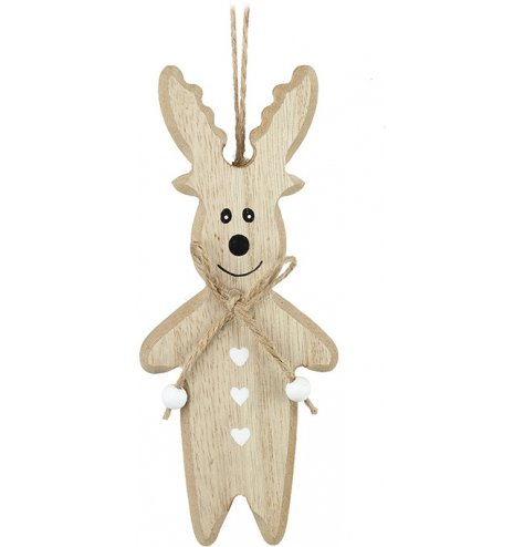 Adorable wooden reindeer character with a jute bow and white beads.
