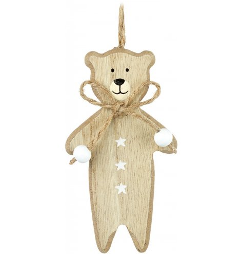 Adorable wooden hanging bear with a jute bow and white beads.