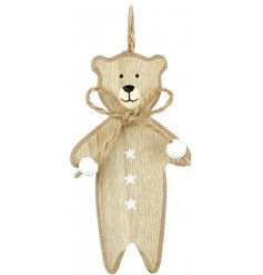 A cute and simple hanging wooden bear decoration complete with a jute bow