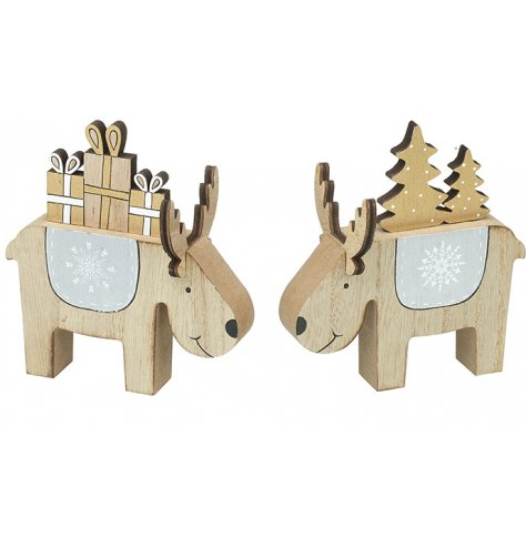 Two natural wooden reindeer decorations with festive features including Christmas trees and presents.