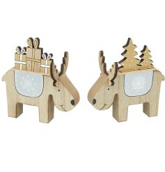 An assortment of 2 cute wooden reindeer decorations in Christmas present and Christmas tree designs.
