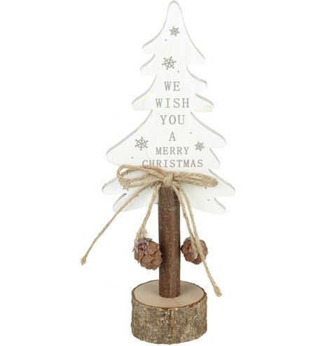 A rustic Christmas tree with plenty of character and charm. Complete with festive details