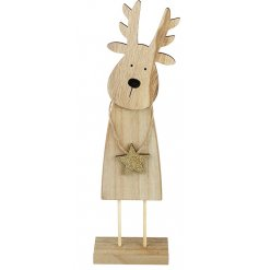 A cute and characterful wooden reindeer decoration with a gold sparkly star.