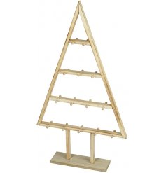 A chic wooden Christmas tree display unit with 28 hooks. Perfect for placing on display units and counters.