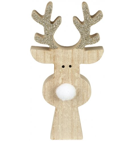 Charming wooden reindeer with champagne glitter antlers and fluffy pom pom nose.