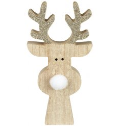 A charmingly simple wooden reindeer block with glittery antlers and a white pompom nose
