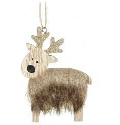 A wooden reindeer with faux fur body, golden glitter antlers and twine for hanging around the home.