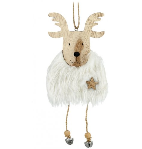 This cute little reindeer has a faux fur body with dangly legs and bell hooves. For that added touch is the small wooden