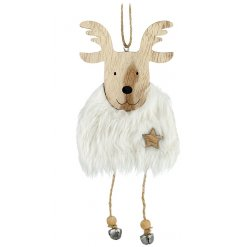 A wooden hanging reindeer with faux fur body, twine legs and bells. With a little wooden star for detail.
