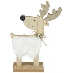 A wooden standing reindeer with faux fur body, twine bow and bell and golden glitter antlers.