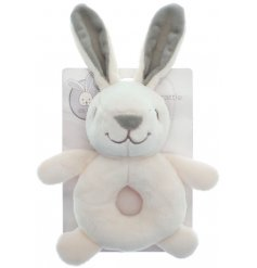 This neutral coloured baby rattle from the Little Bunny range is the perfect gift.