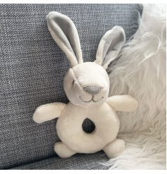 A sweet little bunny plush rattle, suitable from birth this is a lovely gift for a newborn.