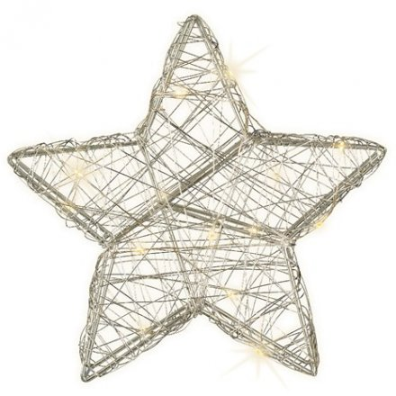 LED Silver Wire Star, 20cm