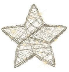 A warm glowing LED Wire Star in a silver tone, perfect for adding to any themed home during the festive season