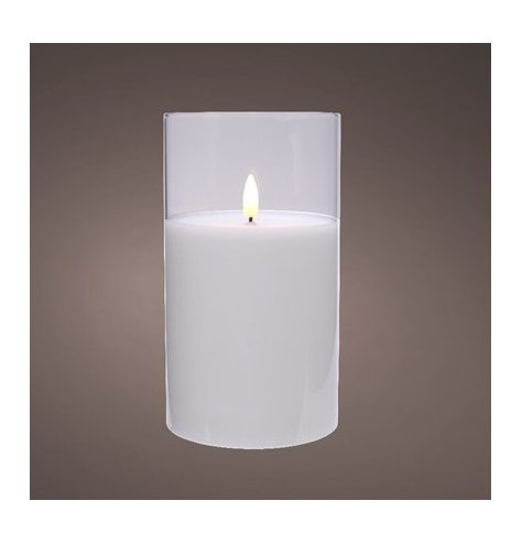 A chic glass jar containing an LED candle with a flickering warm white glow.