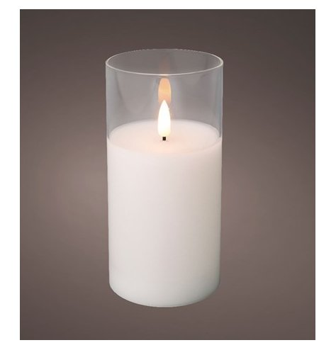 A chic and contemporary LED candle with a warm glow.