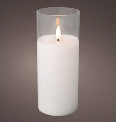 Set with a realistic flickering flame, this LED operated Wax Candle is set within a clear glass tube