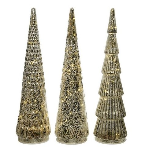 Beautiful glass Christmas trees, each with a vintage inspired mottled finish.